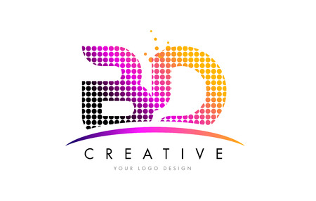 d: BD B D Dots Letter Logo Design with Magenta Bubble Circles and Swoosh Illustration