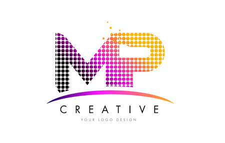 MP M P Dots Letter Logo Design with Magenta Bubble Circles and Swoosh