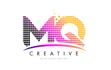 MQ M Q Dots Letter Logo Design with Magenta Bubble Circles and Swoosh