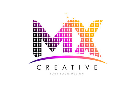 mx: MX M X Dots Letter Logo Design with Magenta Bubble Circles and Swoosh