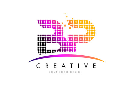BP B P Dots Letter Logo Design with Magenta Bubble Circles and Swoosh Illustration