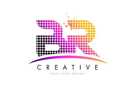 br: BR B R Dots Letter Logo Design with Magenta Bubble Circles and Swoosh