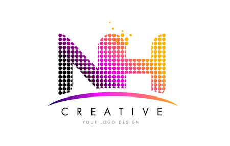 NH N H Dots Letter Logo Design with Magenta Bubble Circles and Swoosh