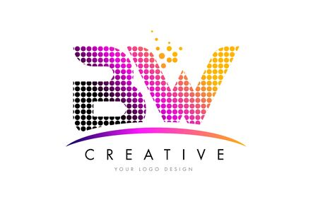 b w: BW B W Dots Letter Logo Design with Magenta Bubble Circles and Swoosh Illustration