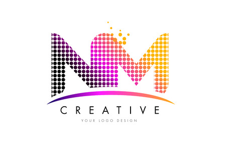 NM N M Dots Letter Logo Design with Magenta Bubble Circles and Swoosh