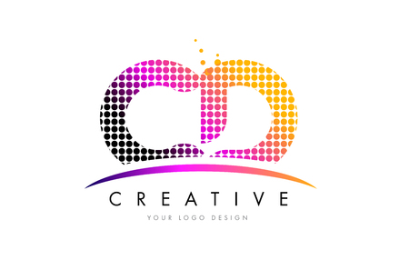 CD C D Dots Letter Logo Design with Magenta Bubble Circles and Swoosh Illustration