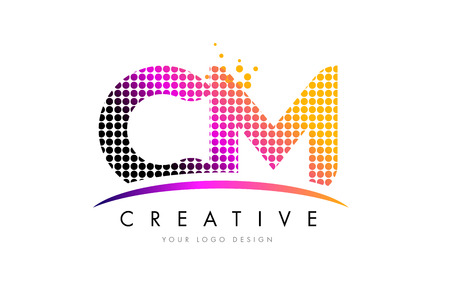 CM C M Dots Letter Logo Design with Magenta Bubble Circles and Swoosh