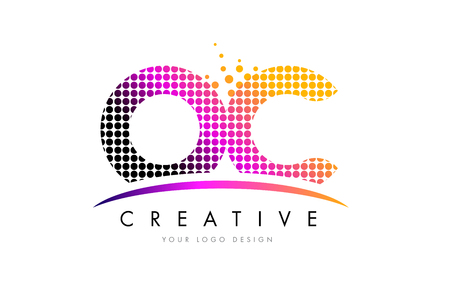 OC O C Dots Letter Logo Design with Magenta Bubble Circles and Swoosh