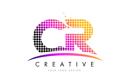 CR C R Dots Letter Logo Design with Magenta Bubble Circles and Swoosh