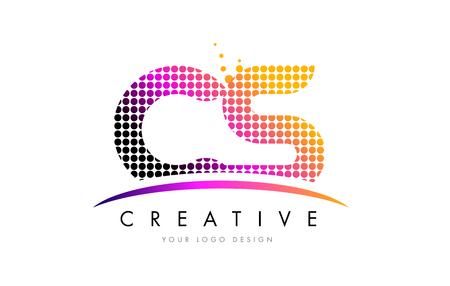 cs: CS C S Dots Letter Logo Design with Magenta Bubble Circles and Swoosh