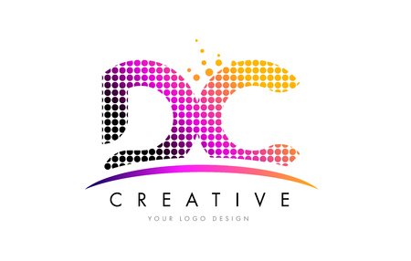 d: DC D C Dots Letter Logo Design with Magenta Bubble Circles and Swoosh