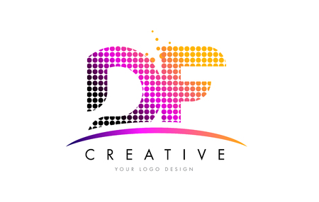 d: DF D F Dots Letter Logo Design with Magenta Bubble Circles and Swoosh