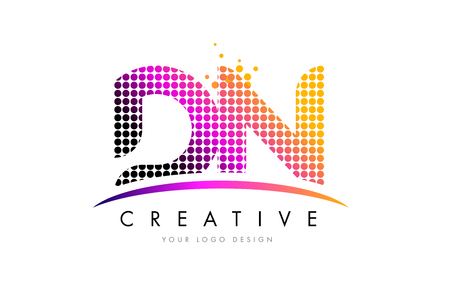 d: DN D N Dots Letter Logo Design with Magenta Bubble Circles and Swoosh