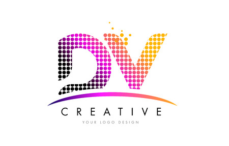 d: DV D V Dots Letter Logo Design with Magenta Bubble Circles and Swoosh