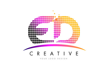 ED E D Dots Letter Logo Design with Magenta Bubble Circles and Swoosh Illustration