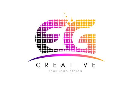eg: EG E G Dots Letter Logo Design with Magenta Bubble Circles and Swoosh Illustration
