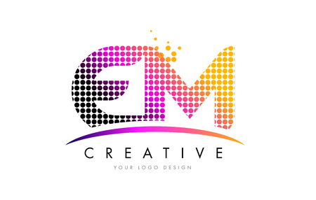EM E M Dots Letter Logo Design with Magenta Bubble Circles and Swoosh