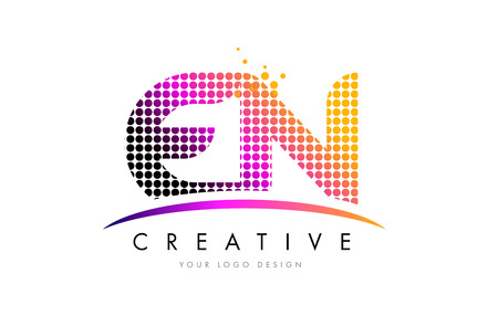 EN E N Dots Letter Logo Design with Magenta Bubble Circles and Swoosh