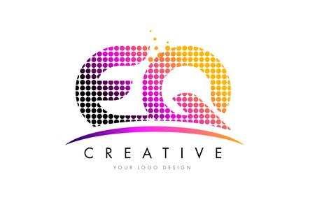 EQ E Q Dots Letter Logo Design with Magenta Bubble Circles and Swoosh Illustration
