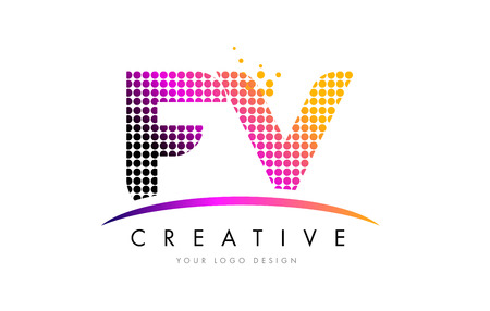 fv: FV F V Dots Letter Logo Design with Magenta Bubble Circles and Swoosh