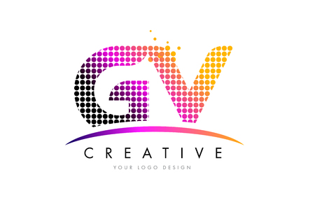 GV G V Dots Letter Logo Design with Magenta Bubble Circles and Swoosh