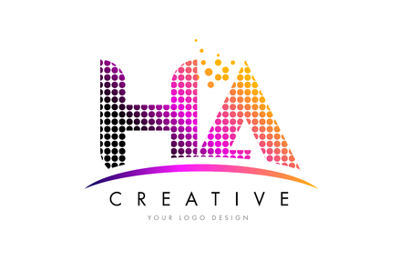 HA H A Dots Letter Logo Design with Magenta Bubble Circles and Swoosh