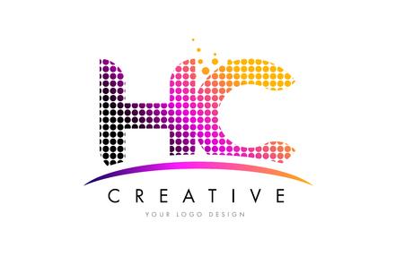 HC HC Dots Lettre Logo Design avec des cercles de bulles magenta et Swoosh