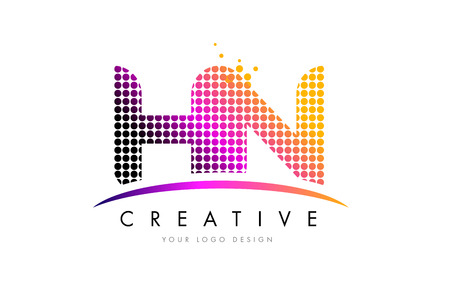 hn: HN H N Dots Letter Logo Design with Magenta Bubble Circles and Swoosh Illustration