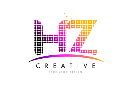 HZ H Z Dots Letter Logo Design with Magenta Bubble Circles and Swoosh