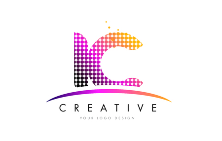 ic: IC I C Dots Letter Logo Design with Magenta Bubble Circles and Swoosh