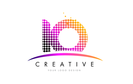 IO I O Dots Letter Logo Design with Magenta Bubble Circles and Swoosh