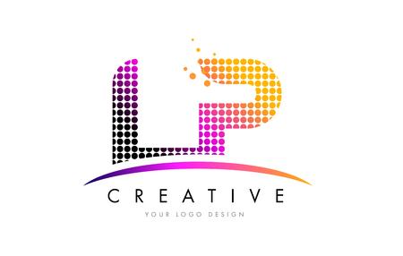 LP L P Dots Letter Logo Design with Magenta Bubble Circles and Swoosh