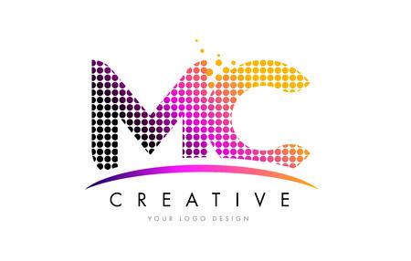 MC M C Dots Letter Logo Design with Magenta Bubble Circles and Swoosh Illustration