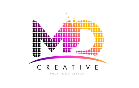 d: MD M D Dots Letter Logo Design with Magenta Bubble Circles and Swoosh Illustration