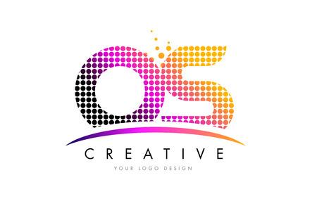 OS OS Dots Letter Logo Design con Magenta Bubble Circles y Swoosh