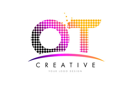 OT O T Dots Letter Logo Design with Magenta Bubble Circles and Swoosh