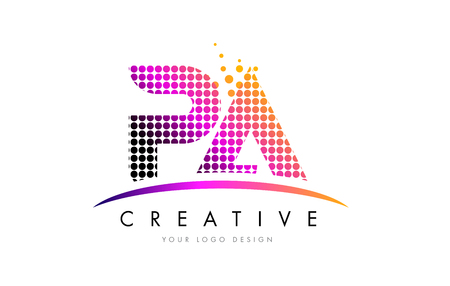 PA P A Dots Letter Logo Design with Magenta Bubble Circles and Swoosh Logo