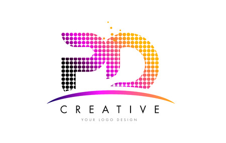 d: PD P D Dots Letter Logo Design with Magenta Bubble Circles and Swoosh