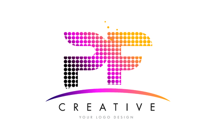 PF P F Dots Letter Logo Design with Magenta Bubble Circles and Swoosh