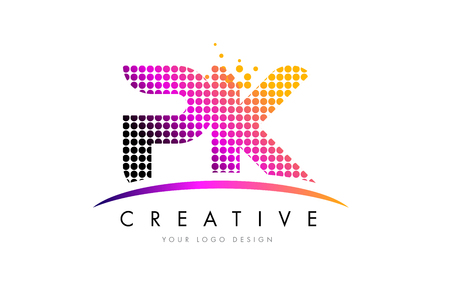 PK P K Dots Letter Logo Design with Magenta Bubble Circles and Swoosh