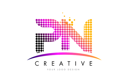 PN P N Dots Letter Logo Design with Magenta Bubble Circles and Swoosh