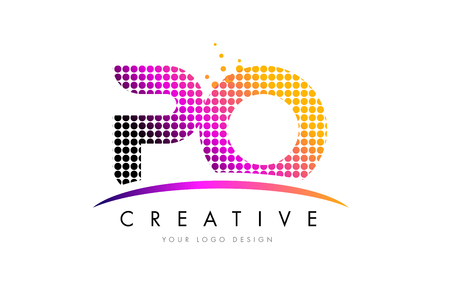 po: PO P O Dots Letter Logo Design with Magenta Bubble Circles and Swoosh
