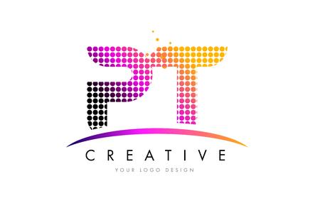 PT P T Dots Letter Logo Design with Magenta Bubble Circles and Swoosh Logó