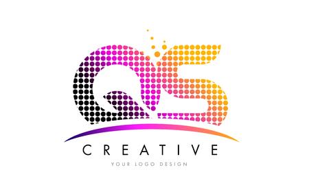 qs: QS Q S Dots Letter Logo Design with Magenta Bubble Circles and Swoosh Illustration