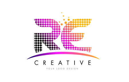 RE R E Dots Letter Logo Design with Magenta Bubble Circles and Swoosh