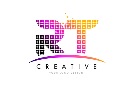 RT R T Dots Letter Logo Design with Magenta Bubble Circles and Swoosh Logó
