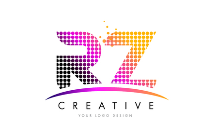 RZ R Z Dots Letter Logo Design with Magenta Bubble Circles and Swoosh
