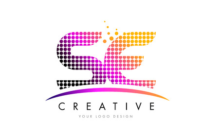 se: SE S E Dots Letter Logo Design with Magenta Bubble Circles and Swoosh