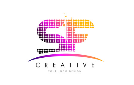 SF S F Dots Letter Logo Design with Magenta Bubble Circles and Swoosh