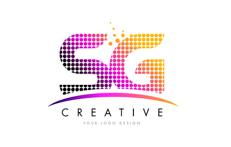 SG S G Dots Letter Logo Design with Magenta Bubble Circles and Swoosh